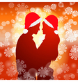 Couple over christmas background with snowflakes vector image vector image