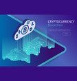 cryptocurrency and blockchain isometric concept vector image vector image