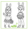 cute boy and girl in rabbit ears and with baskets vector image vector image