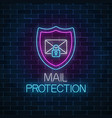 e-mail protection glowing neon sign on dark brick vector image vector image