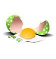 easter holiday background with broken egg vector image vector image