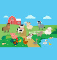 farm animals with landscape vector image