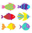 fish icon set cute cartoon kawaii funny character vector image vector image