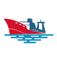 fishing ship on wave vector image vector image