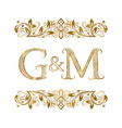g and m vintage initials logo symbol vector image vector image