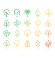 geometric trees simple color line icons set vector image vector image