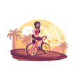 girl riding bicycle on beach vector image vector image