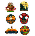 halloween night party label and badge with pumpkin vector image vector image