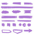 hand drawn purple highlight marker lines spots vector image