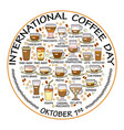 International coffee day card set of beverage