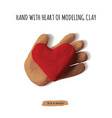 isolated object hand with heart modeling clay vector image vector image