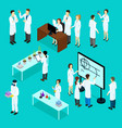 isometric scientists characters set vector image vector image