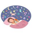 little girl is sleeping children s dreams vector image