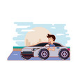 man driving car driver safely vector image vector image