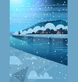 night landscape of winter village houses near vector image vector image