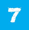 number 7 cloud font symbol white alphabet sign vector image vector image