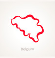 outline map of belgium marked with red line vector image vector image