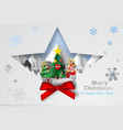 paper art and craft of christmas tree with vector image vector image