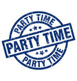 party time blue round grunge stamp vector image vector image