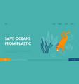 plastic pollution ocean water website landing vector image