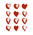 red brush drawn hearts vector image vector image