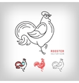 Rooster icons black and color thin line vector image