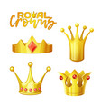 set golden royal crowns in cartoon style for vector image vector image