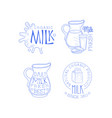 set of labels for dairy products sketch vector image vector image