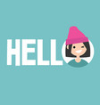 smiling winking girl says hello conceptual sign vector image vector image