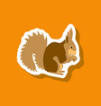 squirrel paper sticker on stylish background vector image vector image