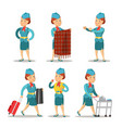 stewardess cartoon in uniform air hostess vector image vector image