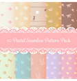 ten pastel cute seamless pattern background pack vector image vector image