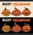 three wise halloween pumpkins vector image vector image