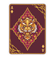 tiger head on poker card vector image