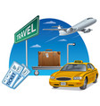 travel and transport with tickets vector image vector image