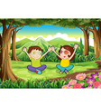 Two playful kids at the forest vector image vector image