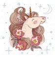 unicorn flower card hand drawn vector image