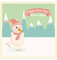 Vintage of a snowman in the mountains vector image
