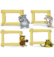 Wood Frame with Cartoon Animal vector image vector image