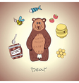 cartoon bear and his food vector image