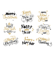 Happy New Year and Merry Christmas hand drawn vector image
