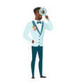 african-american groom with magnifying glass vector image
