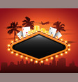 vegas casino neon sign in front or cityscape vector image