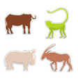 african animals silhouettes made as stickers vector image vector image