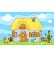 Ancient farm with farmer and animals vector | Price: 1 Credit (USD $1)