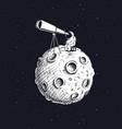 astronaut on moon looks through the telescope vector image vector image
