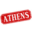 Athens red square grunge retro style sign vector image vector image
