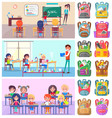 back to school label pupils and teacher vector image vector image