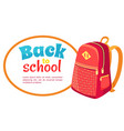 back to school poster with fashionable backpack