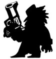 big gun shooter silhouette cartoon vector image